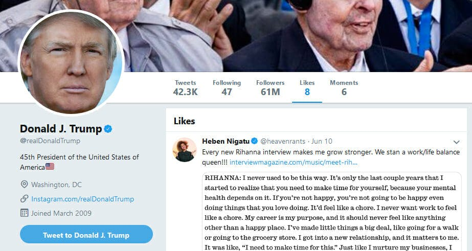 Donald Trump Liked Tweet Rihanna