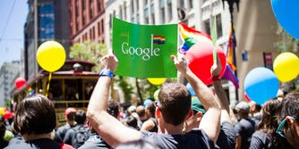 A Google banner with the Pride flag is seen at San Francisco Pride in 2012