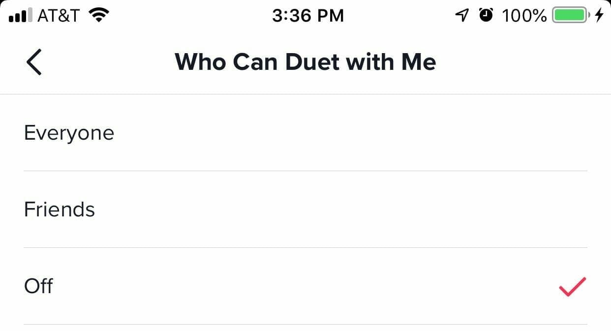 How to disable Duets on Tiktok, step 3