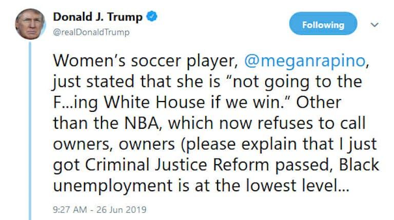 Trump tweet wrong rapinoe