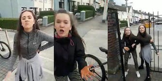 Three photos side by side show two girls caught on video verbally assaulting a Mexican man in Dublin
