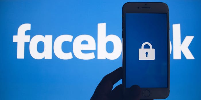 A lock against a Facebook banner