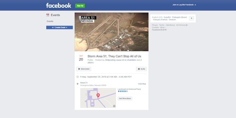 Area 51 Facebook Event Creator