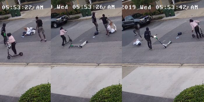 Three shots from the video shows a teen brutally beating and stomping the victim as he lay on the ground