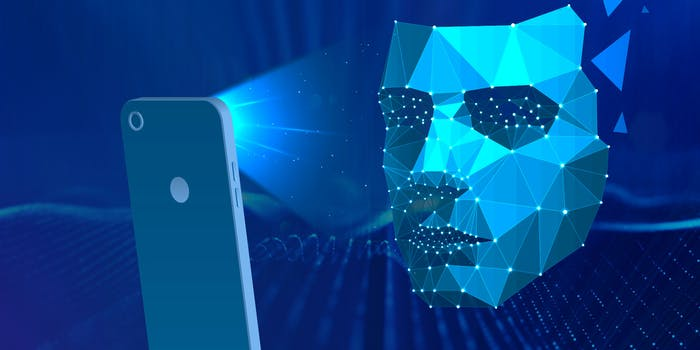 A blue colored facial recognition-themed graphic art shows rays of light from a cell phone matching different points on a reconstructed face