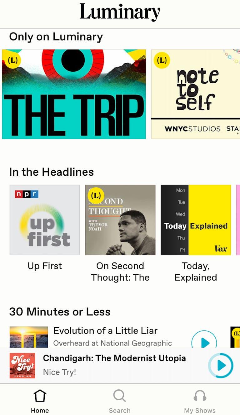 Luminary podcast app for iOS