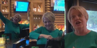 In three different images, Nancy Goodman is seen smiling, waving at the Black women while smiling, and yelling at the Black women
