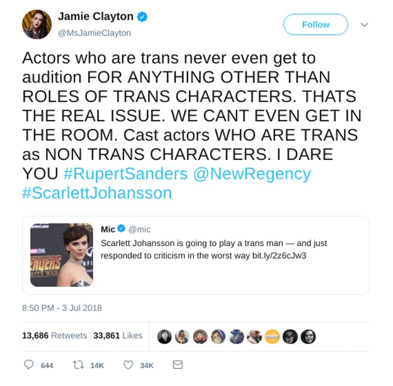 Jamie Clayton on Scarlett Johansson