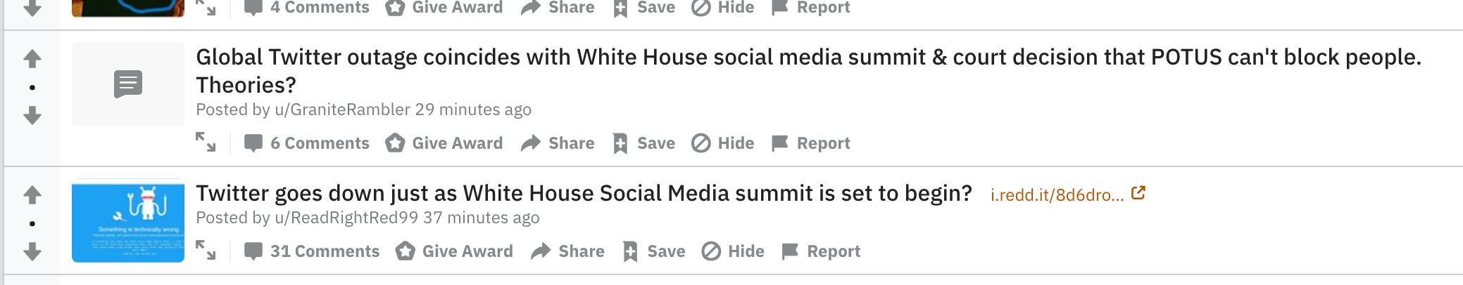 reddit conspiracy twitter down