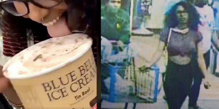Left: screenshot of the woman licking a Blue Bell Tin Roof ice cream; Right: the woman is seen leaving the scene