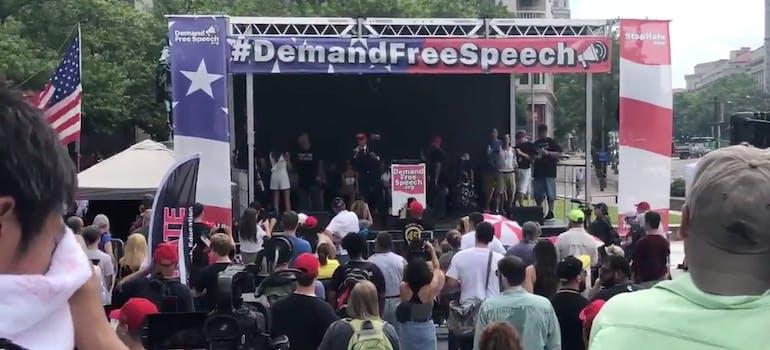 demand free speech rally