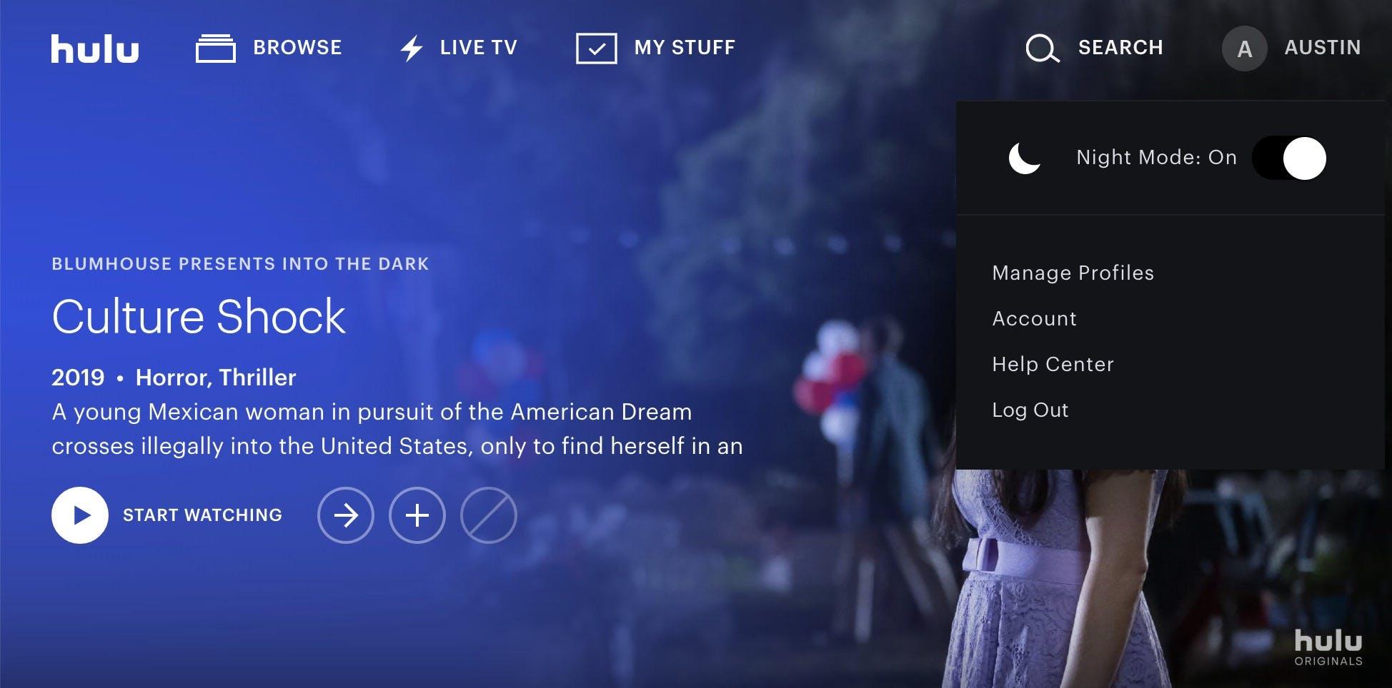 hulu review night mode