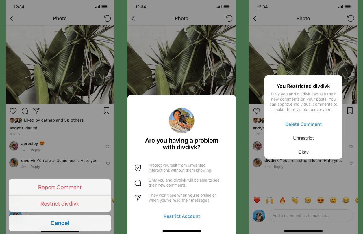 instagram restrict options