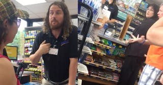 On the left, the employee is seen saying 'I'm an American' to two women speaking Spanish; on the right, two bystander customers defend the racist cashier
