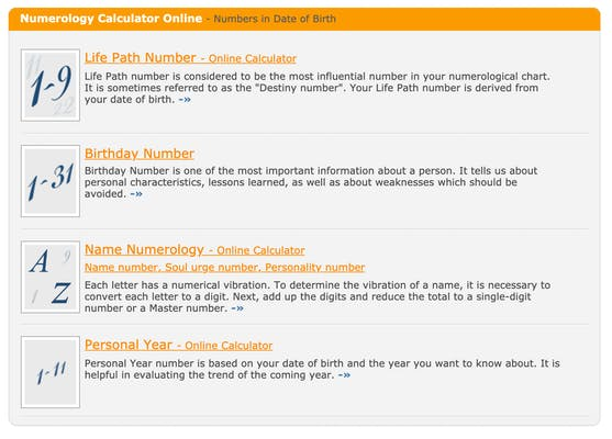 Screenshot of the types of numerology reading calculators offered by Astro-Seek.com.