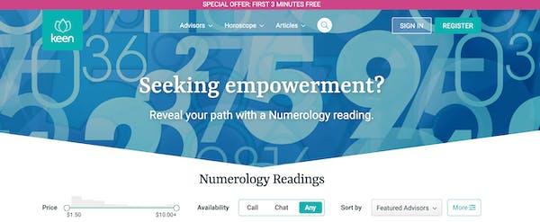 Screenshot of Keen's numerology reading homepage.