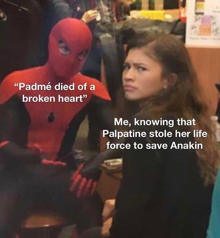 spider-man zendaya star wars meme