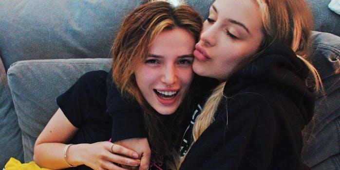 Bella Thorne and Tana Mongeau hugging happily