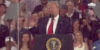 President Donald Trump seen in his 'Salute to America' speech on July 4