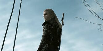 geralt the witcher with one sword