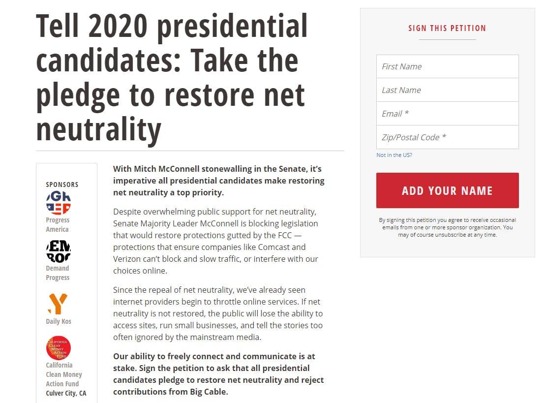 Net Neutrality Pledge 2020