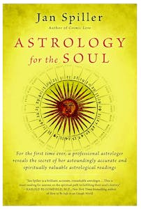"""Cover of Jan Spiller's book """"Astrology for the Soul"""" features a zodiac wheel on a yellow background."""