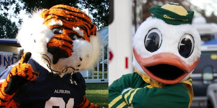 auburn tigers and oregon ducks mascots