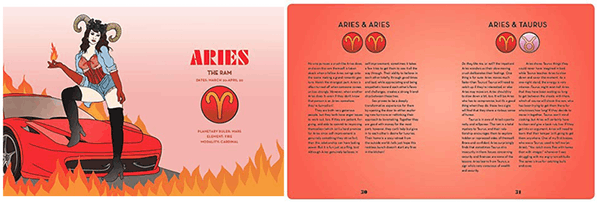 """Inner-lay paragraph illustration of an Aries and its related excerpt from the book """"The Astrology of Love & Sex: A Modern Compatibility Guide"""" by Annabel Gat."""