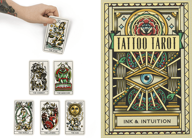 Tattoo tarot cards in a pyramid and the box on a white background.