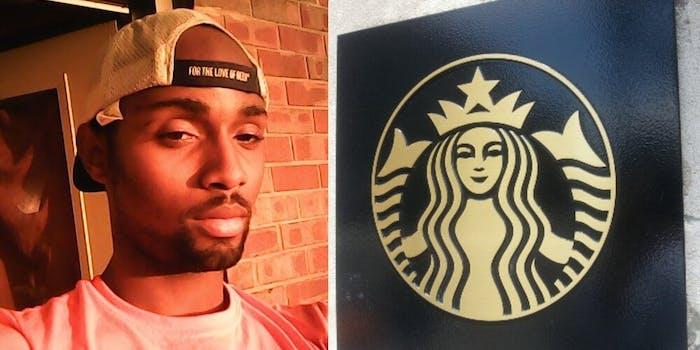 A selfie of James Farmer in an orange t-shirt and a cap, next to a Starbucks logo