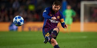 Lionel Messi of Barcelona vs Bayern Munich