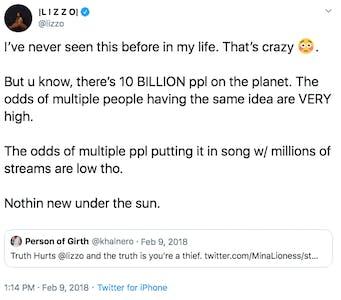 lizzo truth hurts tweet