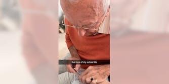 nail-painting grandpa viral video