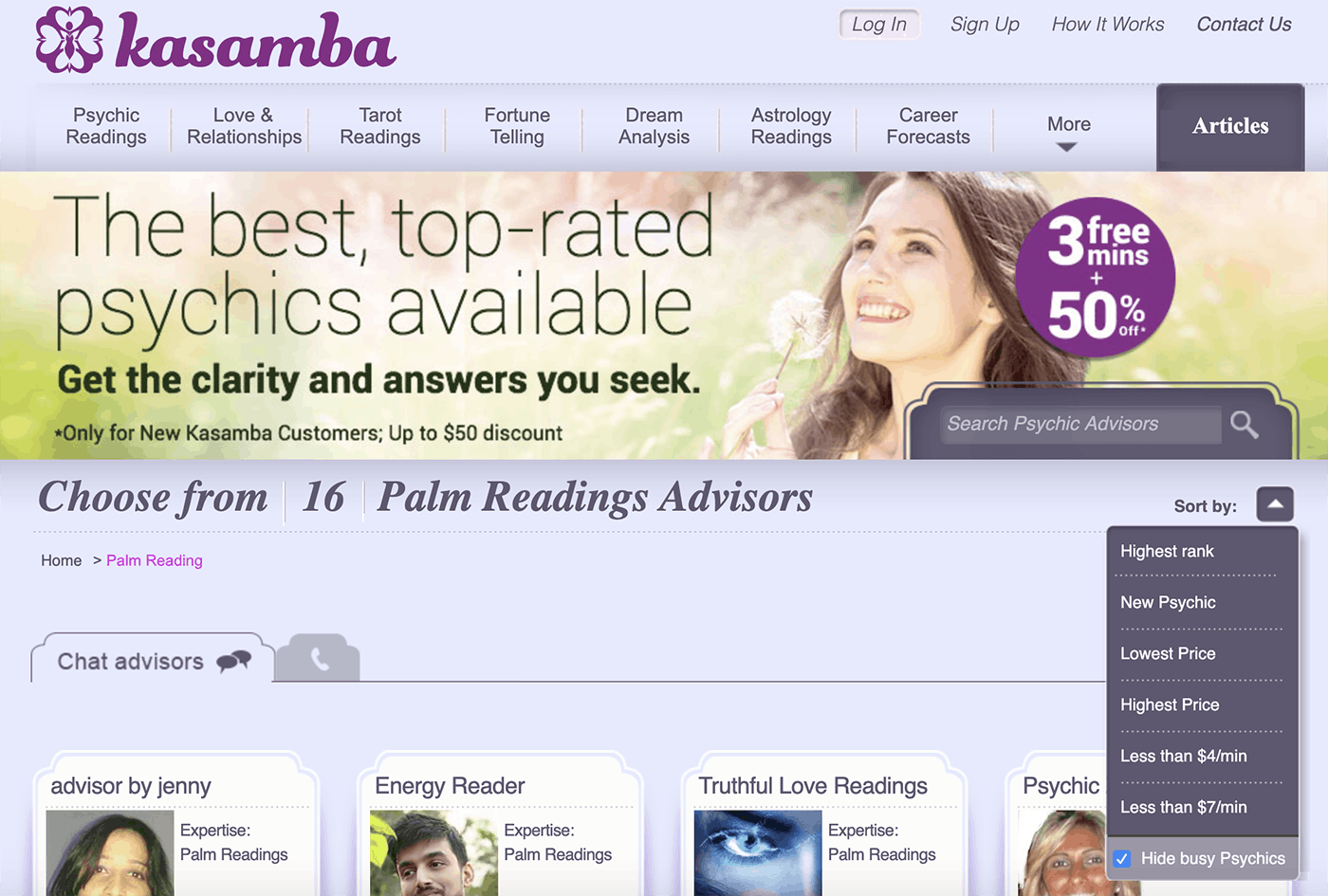 Screenshot of Kasamba's online palm reading practitioners.