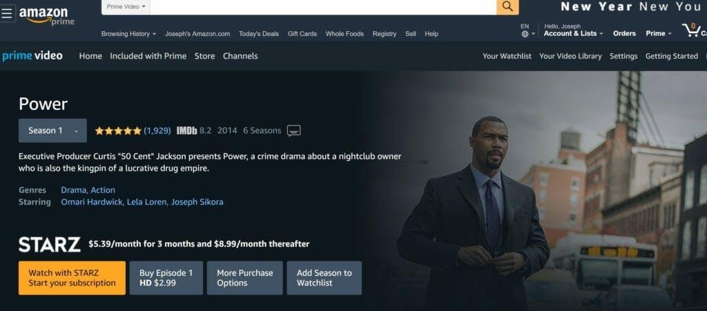 watch power live stream season 6 amazon prime video