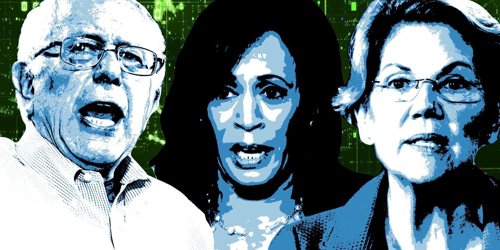 Bernie Sanders, Kamala Harris and Elizabeth Warren