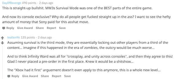 Reddit comments - Modern Warfare