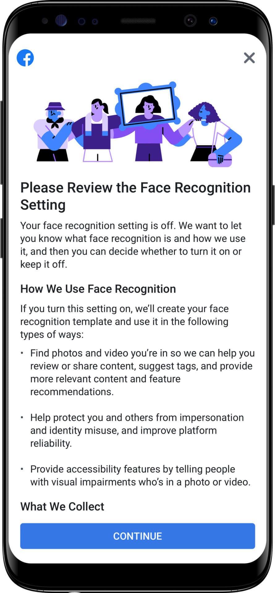 Facebook Facial Recognition Notice
