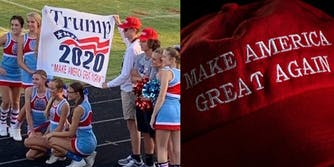 A photo of the cheerleading team with the MAGA banner, next to a MAGA hat