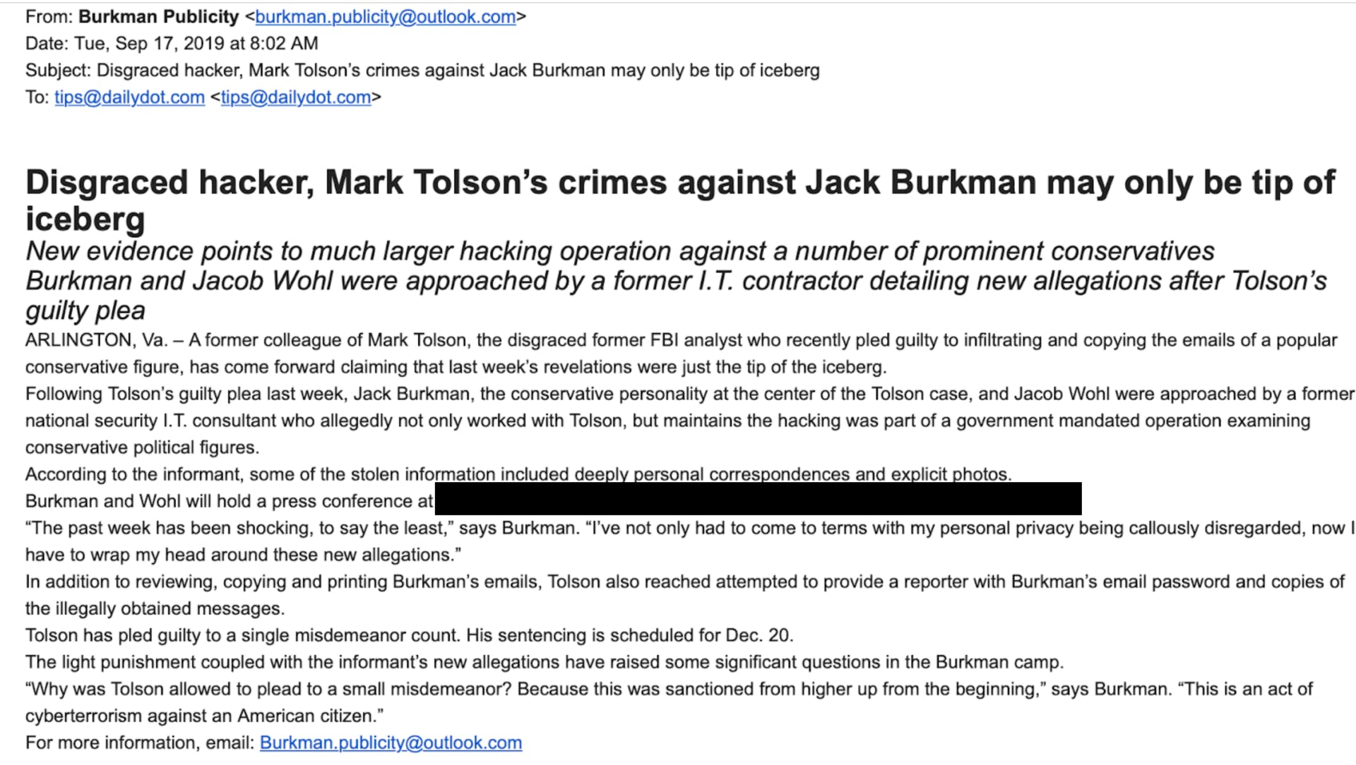 jack burkman email to reporters