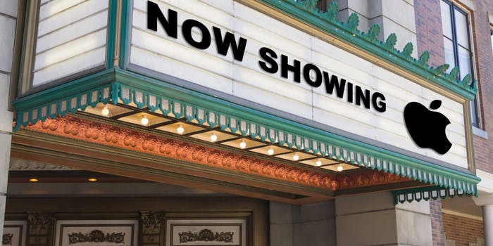NOW SHOWING followed by the Apple logo on a theatrical marquee