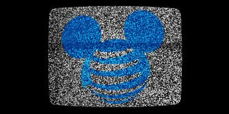 at&t and disney logos mashed together on static television background