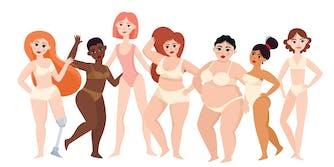 illustration of women of varying body types in underwear