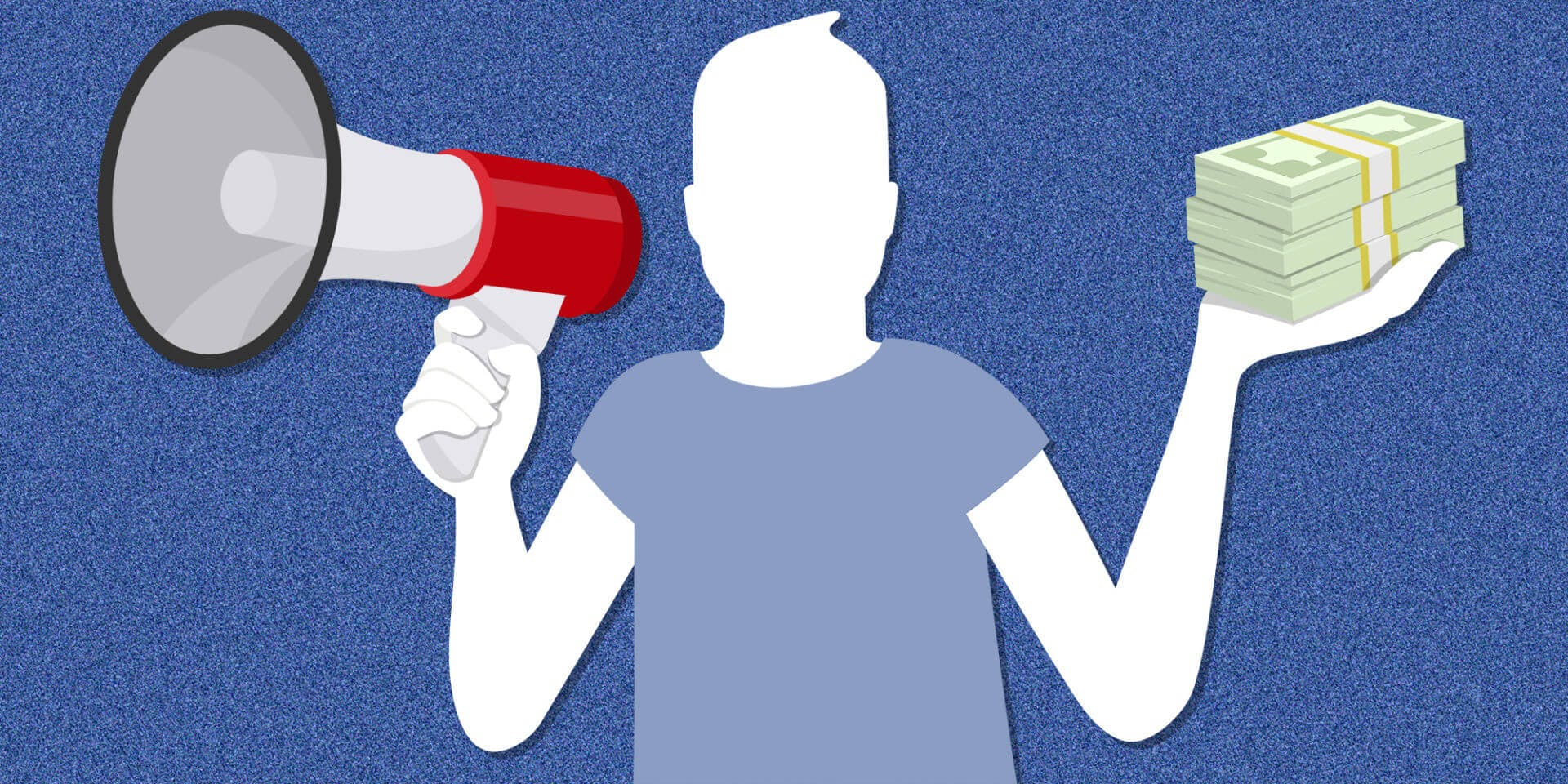 facebook icon holding bundles of cash and a megaphone
