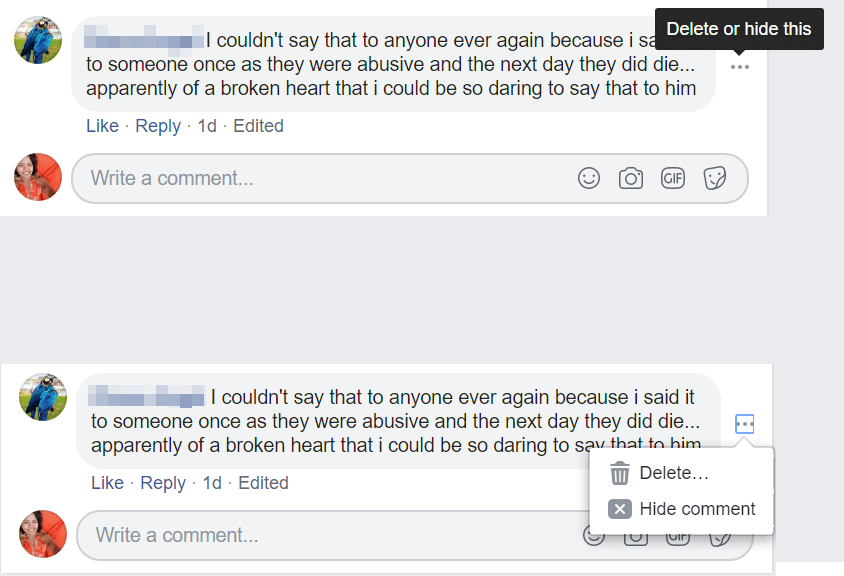 hiding comments on facebook
