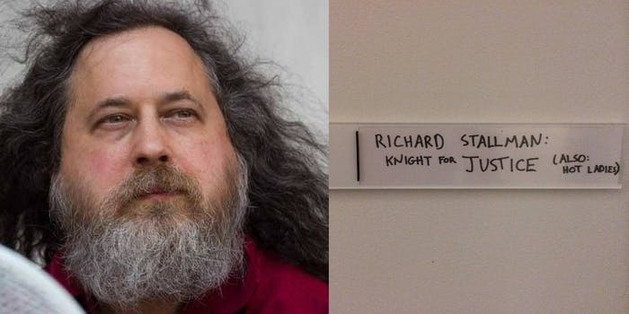 """Richard Stallman next to a door sign that reads """"Richard Stallman Knight for Justice (Also: hot ladies)"""""""