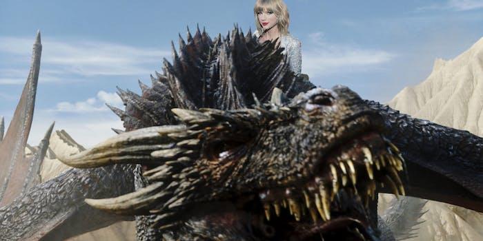 Taylor Swift riding Drogon
