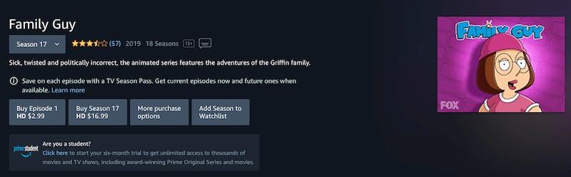 watch family guy season 18 on Amazon