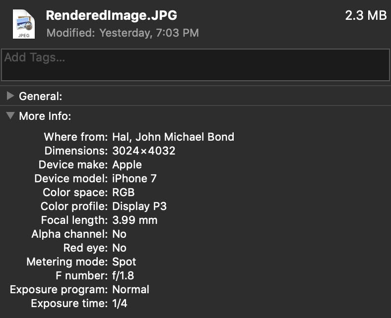 what is image metadata - exif example