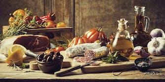 intuitive eating - vintage food spread